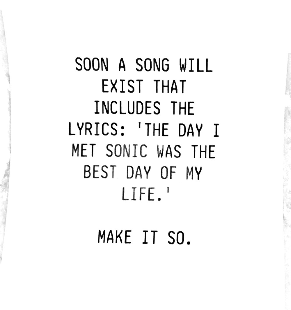 Soon a song will exist that includes the lyrics: 'The day I met Sonic was the best day of my life.' Make it so.